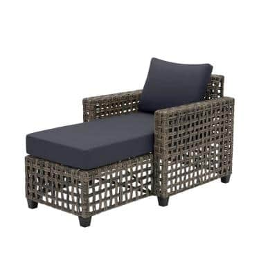 Briar Ridge Brown Wicker Outdoor Patio Chaise Lounge with CushionGuard Midnight Navy Blue Cushions