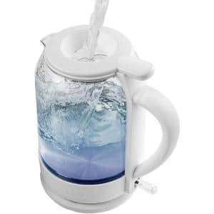 6.3-Cup White Glass Electric Kettle with ProntoFill Technology - Fill Up with the Lid On