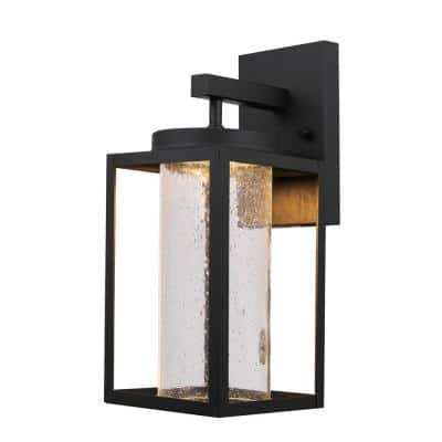 Capulet 1-Light Black LED Integrated Outdoor Indoor Wall Lantern Sconce