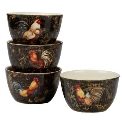 Gilded Rooster 4-Piece Multi-Colored 5.25 in. x 3 in. Ice Cream Bowl Set