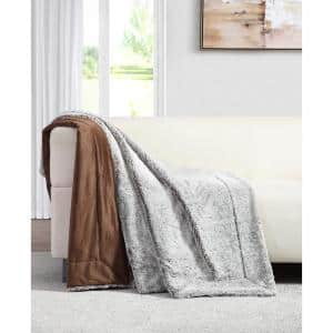 Millburn Faux Taupe Fur Throw Blanket