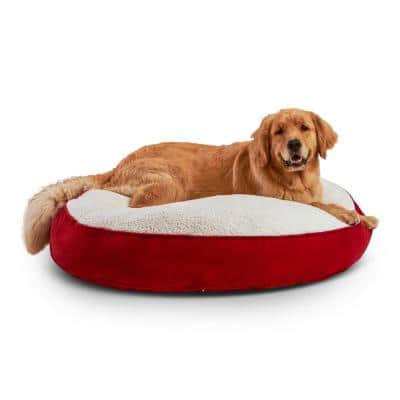 Scout Deluxe Round Large Crimson Sherpa Dog Bed