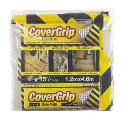 4 ft. x 15 ft. 10 oz. Safety Drop Cloth with Black and Yellow Safety Border