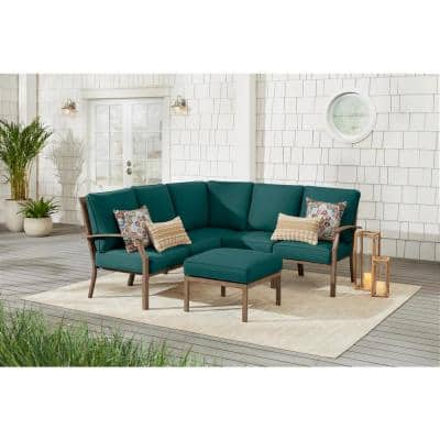 Geneva 6-Piece Brown Wicker Outdoor Sectional Sofa Seating Set with Ottoman and CushionGuard Malachite Green Cushions