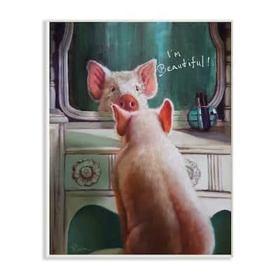 "12.5 in. x 18.5 in. ""I'm Beautiful Painted Pig in Mirror Illustration"" by Artist Lucia Heffernan Wood Wall Art"