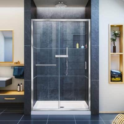 Infinity-Z 36 in. x 48 in. Semi-Frameless Sliding Shower Door in Chrome with Center Drain White Acrylic Base