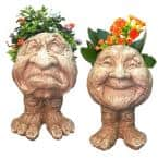 Stone Wash Grumpy and Granny Joy the Muggly Face Statue Planter Holds 5 in. Pot