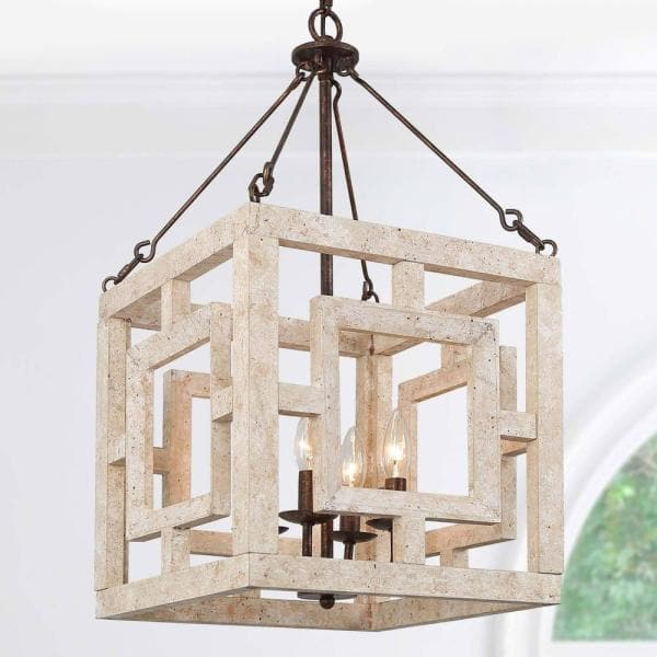 Lantern Cage Wood Chandelier, Square Metal And Wood Chandelier