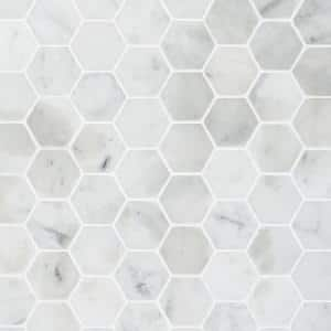 Hexagon White Carrera 12 in. x 12 in. x 8 mm Floor and Wall Tile