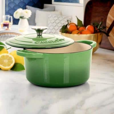 Artisan 3 qt. Round Cast Iron Nonstick Dutch Oven in Pistachio Green with Lid