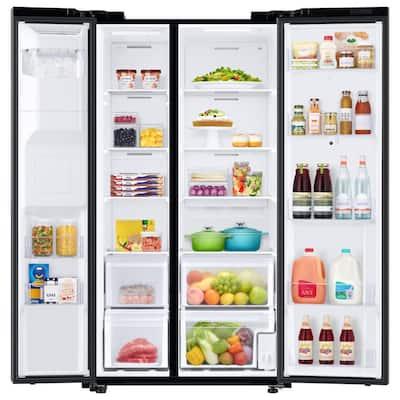 21.5 cu. ft. Family Hub Side by Side Smart Refrigerator in Fingerprint Resistant Black Stainless Steel, Counter Depth
