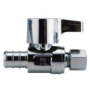 1/2 in. Chrome-Plated Brass PEX Barb x 1/4 in. Compression Quarter-Turn Straight Stop Valve