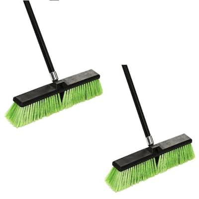 18 in. Green Indoor Outdoor Multi-Surface Push Broom (2-Pack)