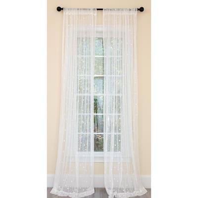 White Polka Dot Rod Pocket Sheer Curtain - 54 in. W x 96 in. L