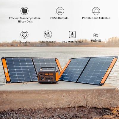SolarSaga 90-Watt Portable Solar Panel for Explorer 290/550/880/1000/1500 Power Station with Built-In 2 USB Outputs