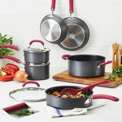 Create Delicious 11-Piece Hard-Anodized Aluminum Nonstick Cookware Set in Red and Gray