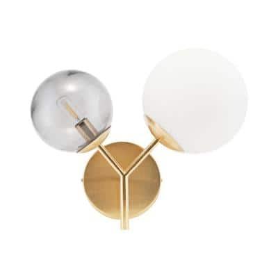 2-Bulb Brass Lamp with Multi-Color Glass Shade