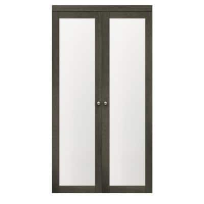 30 in x 80.25 in. Iron Age 1-Lite Tempered Frosted Glass MDF Interior French Door