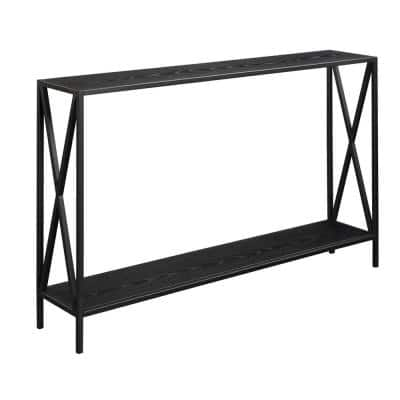 Tucson 48 in. Black Rectangle Wood Console Table with Shelves