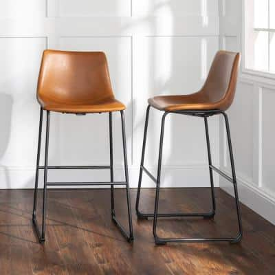29-3/8 in. Whiskey Brown Faux Leather Bar Stools (Set of 2)