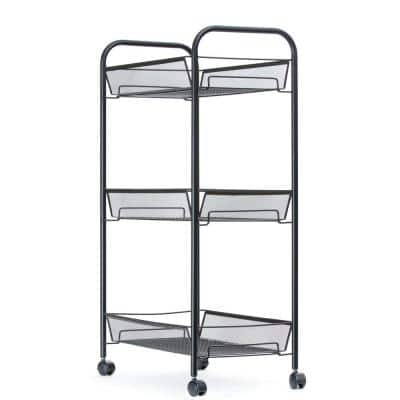 Roll Rolling Metal Mesh 3-Shelf Coffee Cart in Black