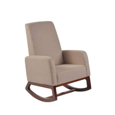 Home Deluxe Beige Modern Solid Wood Rocking Chair with Padded seat and Arm
