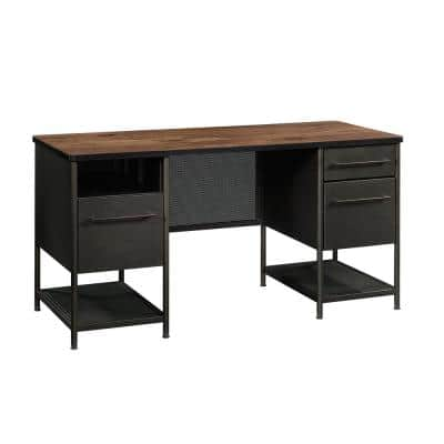 60 in. Rectangular Vinatge Oak/Black 3 Drawer Executive Desk with File Storage