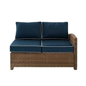 Bradenton Wicker Corner Outdoor Sectional Chair with Navy Cushions