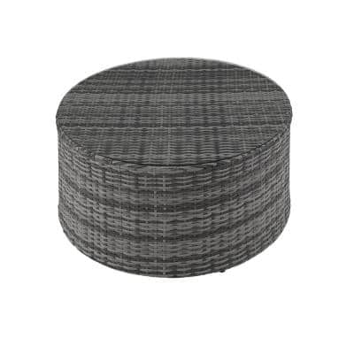 Catalina Gray Round Wicker Outdoor Coffee Table