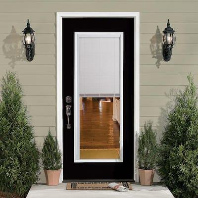 32 in. x 80 in. Full Lite Mini Blind Left Hand Inswing Painted Steel Prehung Front Exterior Door No Brickmold