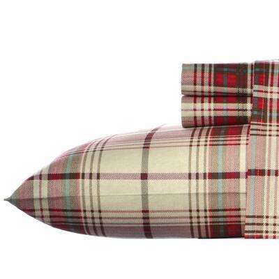 Moutlake Plaid 4-Piece Medium Red Flannel Full Sheet Set