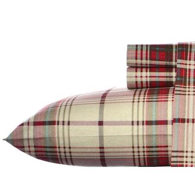 Moutlake Plaid 4-Piece Medium Red Flannel Queen Sheet Set