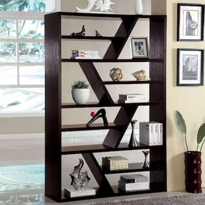 71 in. Espresso Wood 12-shelf Standard Bookcase with Open Back
