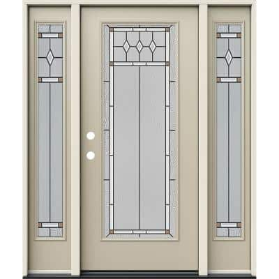 60 in. x 80 in. Right-Hand Full Lite Mission Prairie Decorative Glass Desert Sand Steel Prehung Front Door with Sidelite