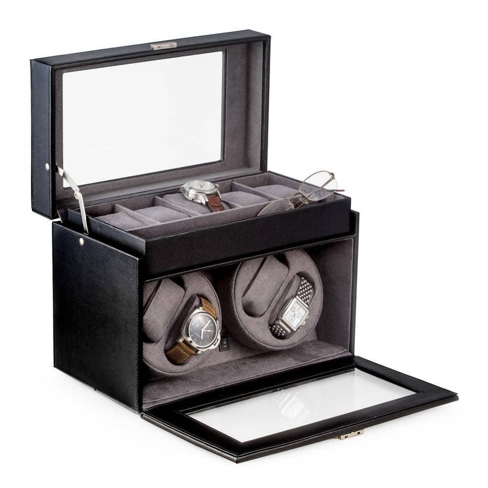 Bey Berk Black Leather 4 Watch Winder And 5 Watch Storage Case Bb605blk The Home Depot