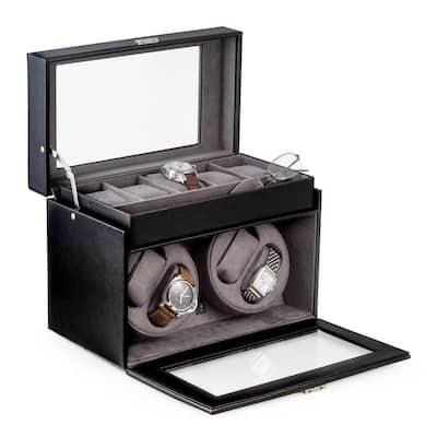 Black Leather 4-Watch Winder and 5-Watch Storage Case