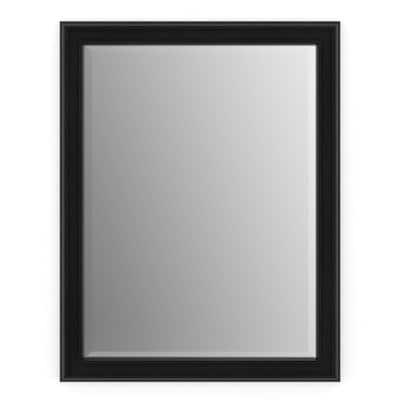 23 in. W x 33 in. H (S2) Framed Rectangular Deluxe Glass Bathroom Vanity Mirror in Matte Black