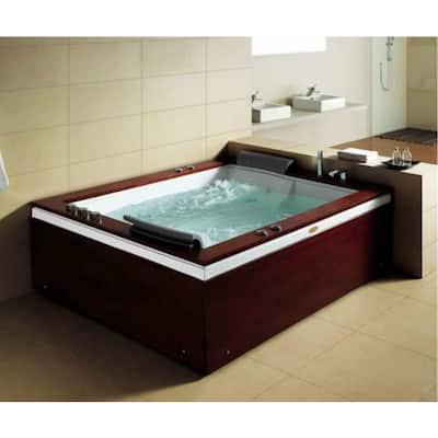 68.4 in. Acrylic Flatbottom Whirlpool Bathtub in White