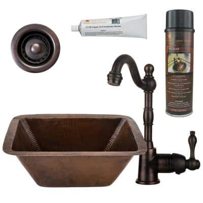 Bronze 16 Gauge Copper 17 in. Dual Mount Rectangle Bar Sink with Faucet and 2 in. Strainer Drain