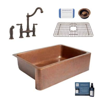 Adams All-in-One Copper Sink 33 in. Single Bowl Farmhouse Apron Kitchen Sink with Pfister Faucet and Drain