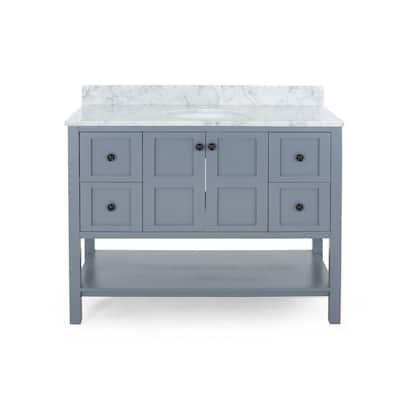Jaeden 48 in. W x 22 in. D Bath Vanity with Carrara Marble Vanity Top in Grey with White Basin