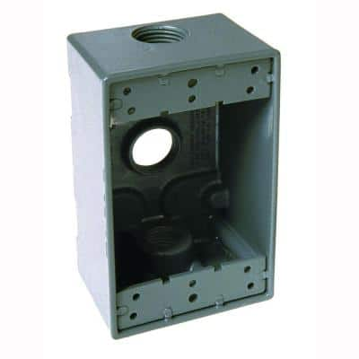1-Gang Weatherproof Gray Box with Three 3/4 in. Outlets