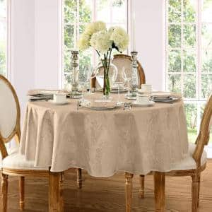 70 in. Round Beige Barcelona Damask Fabric Tablecloth