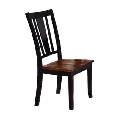 Lanius Black Cherry Solid Wood Slat Back Dining Side Chair (Set of 2)