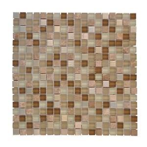 Warm Topaz Beige/Cream 11.75 in. x 11.75 in. Glass Mosaic Tile (0.958 sq. ft./Each)