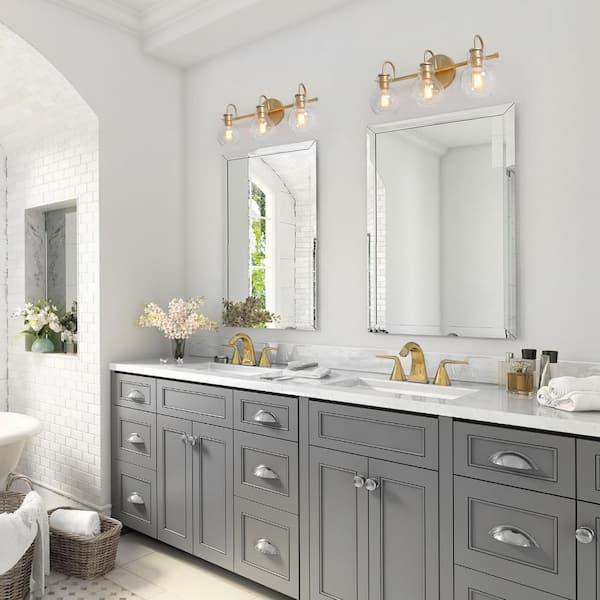 Laluz Robb Modern 3 Light Gold Bathroom, Lighting For Bathroom