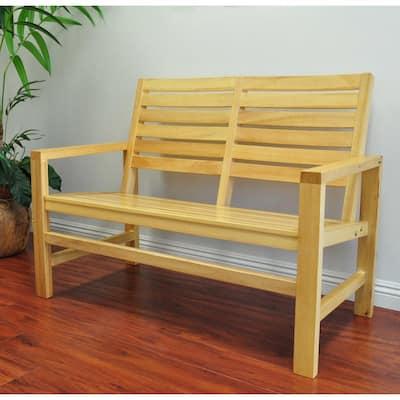 40 in. Contemporary Wood Outdoor Garden Bench in Vanilla