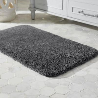 Eloquence Charcoal 20 in. x 34 in. Nylon Machine Washable Bath Mat