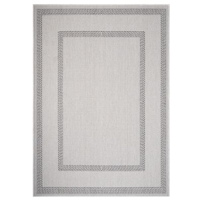 Kilimanjaro White/Gray 3 ft. x 5 ft. Minimal Greek Key Bordered Polypropylene Indoor/Outdoor Area Rug