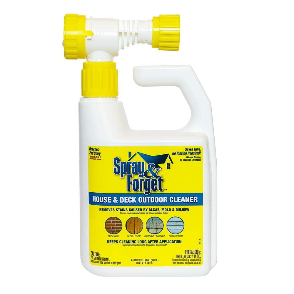 Spray & Forget 32 oz. House and Deck Cleaner Outdoor Mold Remover with Hose End Sprayer